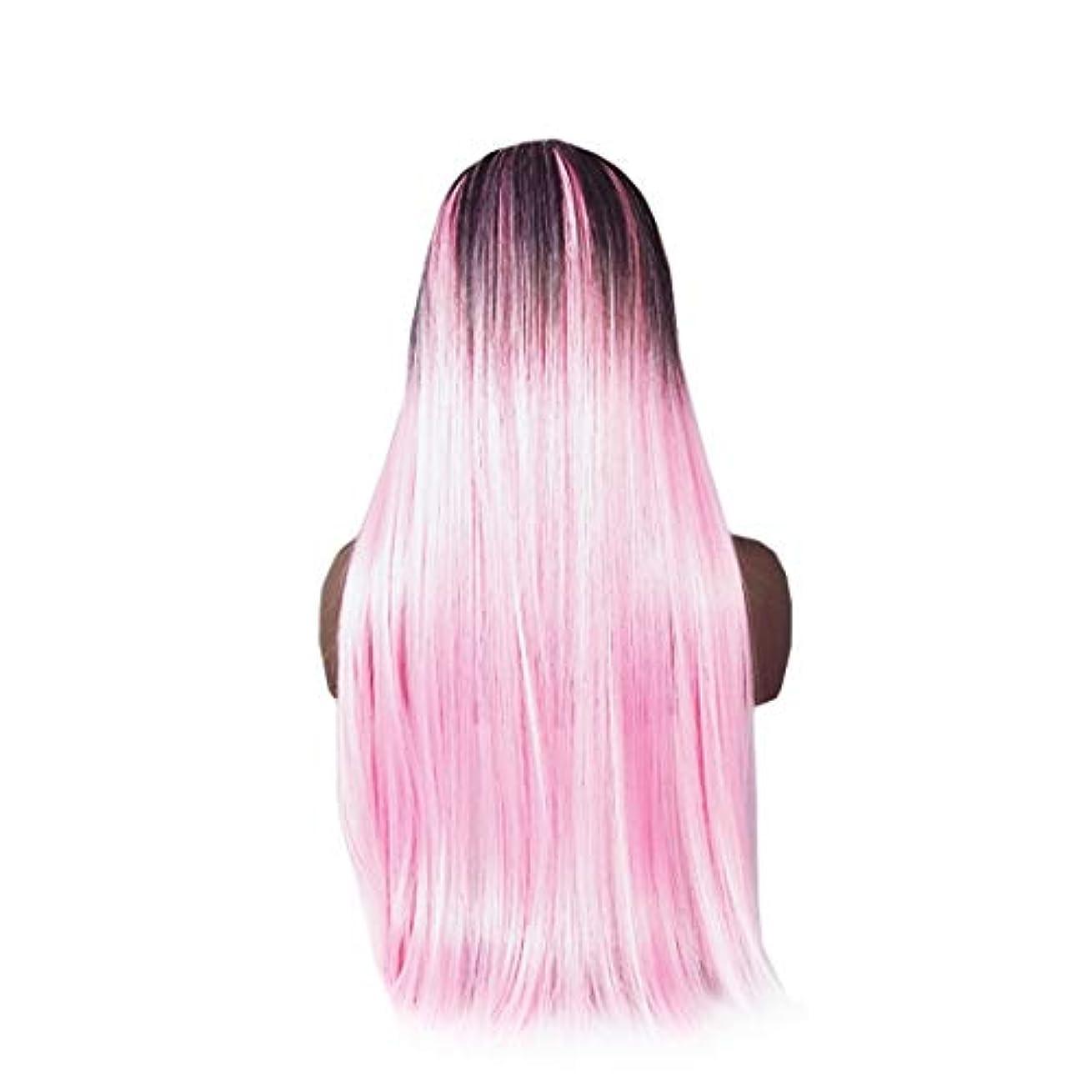 出版変更可能致命的Koloeplf 合成ストレートストレートヘアウィッグカラーグラデーションフルウィッグ女性のための前髪付き耐熱ウィッグロングウィッグコスプレ/パーティー用 (Color : Pink)