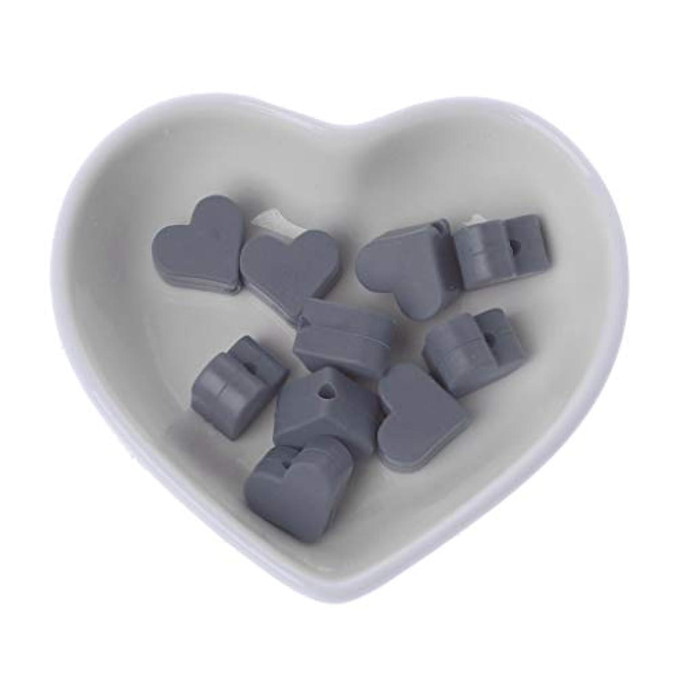 水没教養がある酸化するLanddum 10個シリコーンビーズ愛シリコーンティーザービーズ赤ちゃんのおもちゃdiyおしゃぶりチェーンアクセサリー - ディープピンク