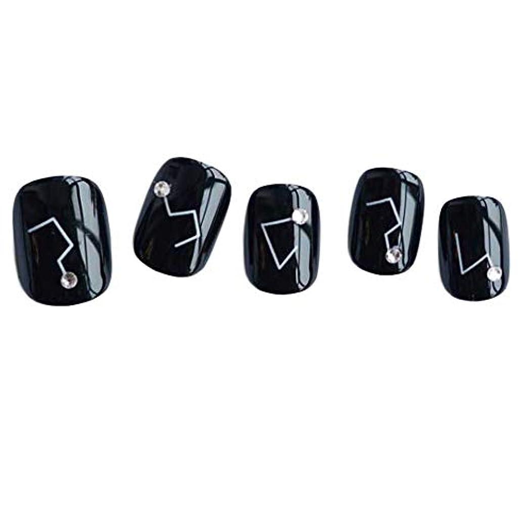 合金文芸ピル星座 - 黒い短い偽の指爪人工爪の装飾の爪のヒント
