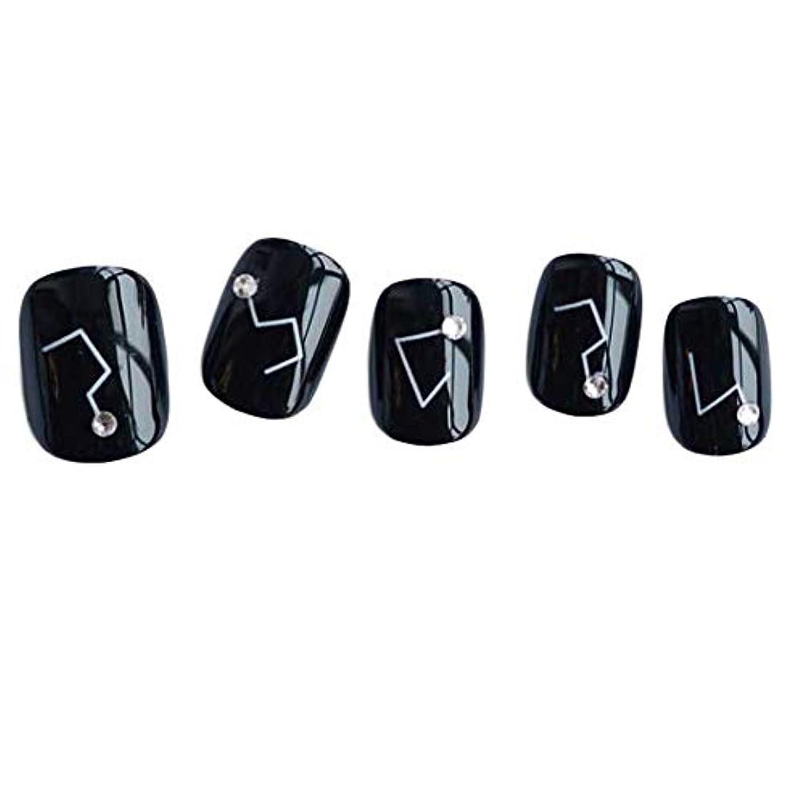 ピアノを弾くクラシカル在庫星座 - 黒い短い偽の指爪人工爪の装飾の爪のヒント