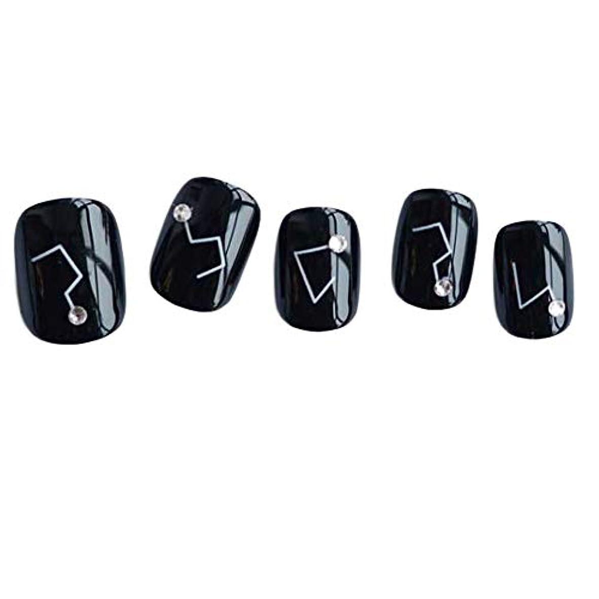 状況子犬密星座 - 黒い短い偽の指爪人工爪の装飾の爪のヒント