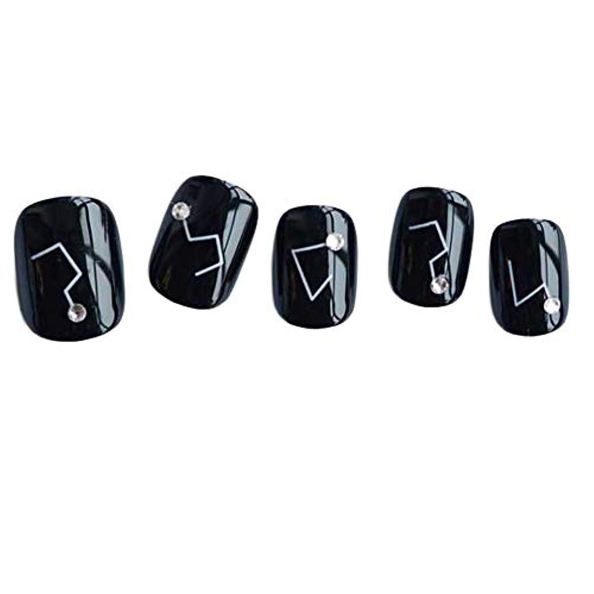 探偵自分のために整然とした星座 - 黒い短い偽の指爪人工爪の装飾の爪のヒント