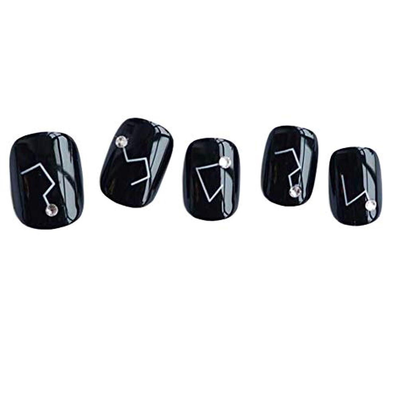 乏しいチャンピオンシップ勇敢な星座 - 黒い短い偽の指爪人工爪の装飾の爪のヒント