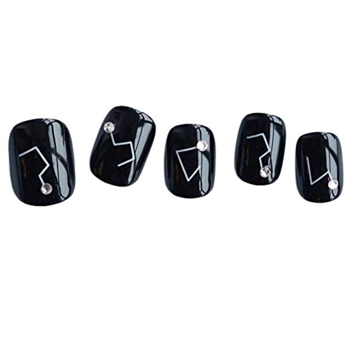 投げ捨てるモードリン整然とした星座 - 黒い短い偽の指爪人工爪の装飾の爪のヒント