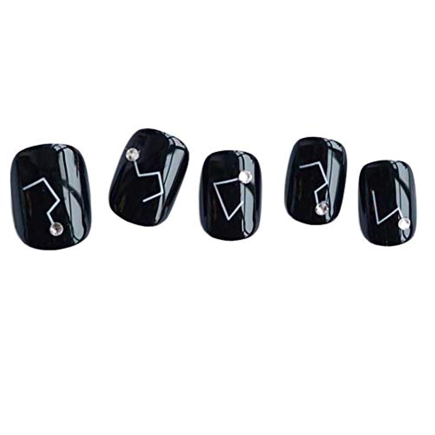 論争の的愛情深い日常的に星座 - 黒い短い偽の指爪人工爪の装飾の爪のヒント