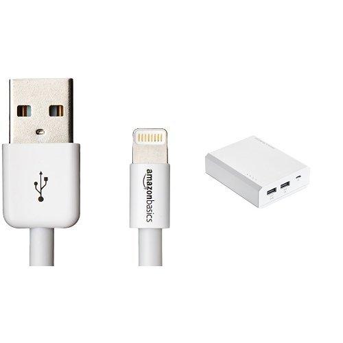 【モバイルバッテリーセット】Amazonベーシック Apple認証 ハイクオリティー ライトニングUSB充電ケーブル ホ...