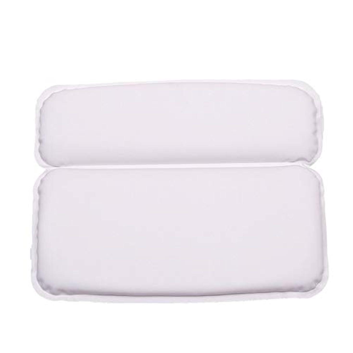 肘品テスピアン浴槽枕 バスルームのジャグジースパバス枕クッションに適し7強い非スリップ吸盤頭と首をサポート バスルーム枕 (色 : 白, サイズ : 39 x 31 x 4.5cm)