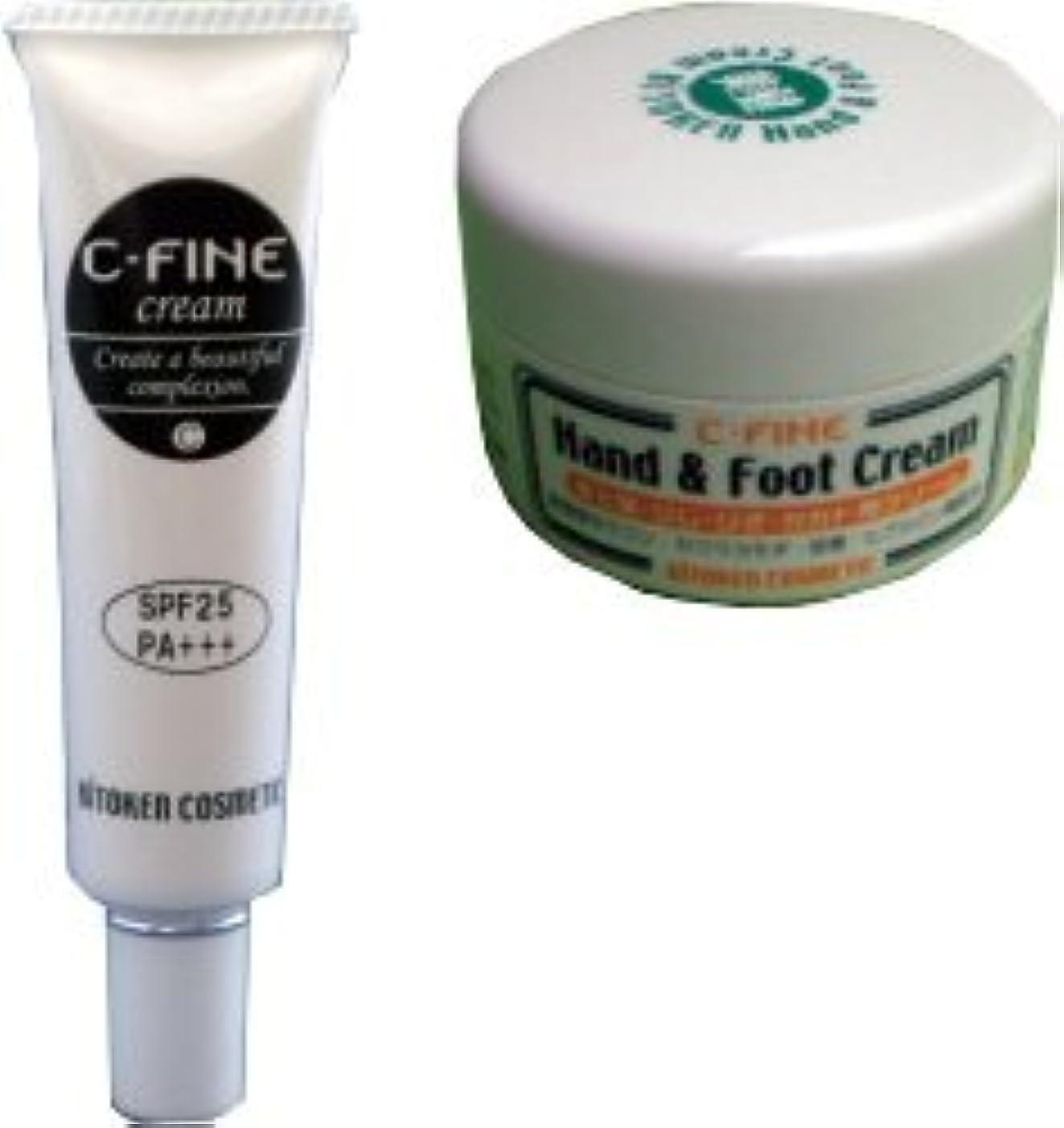 Cファインセット (日焼け止めベースクリーム?ハンド&フットクリーム) ビトケン 下地ベースの日焼け止めとのびがよくベタつかない保湿クリーム