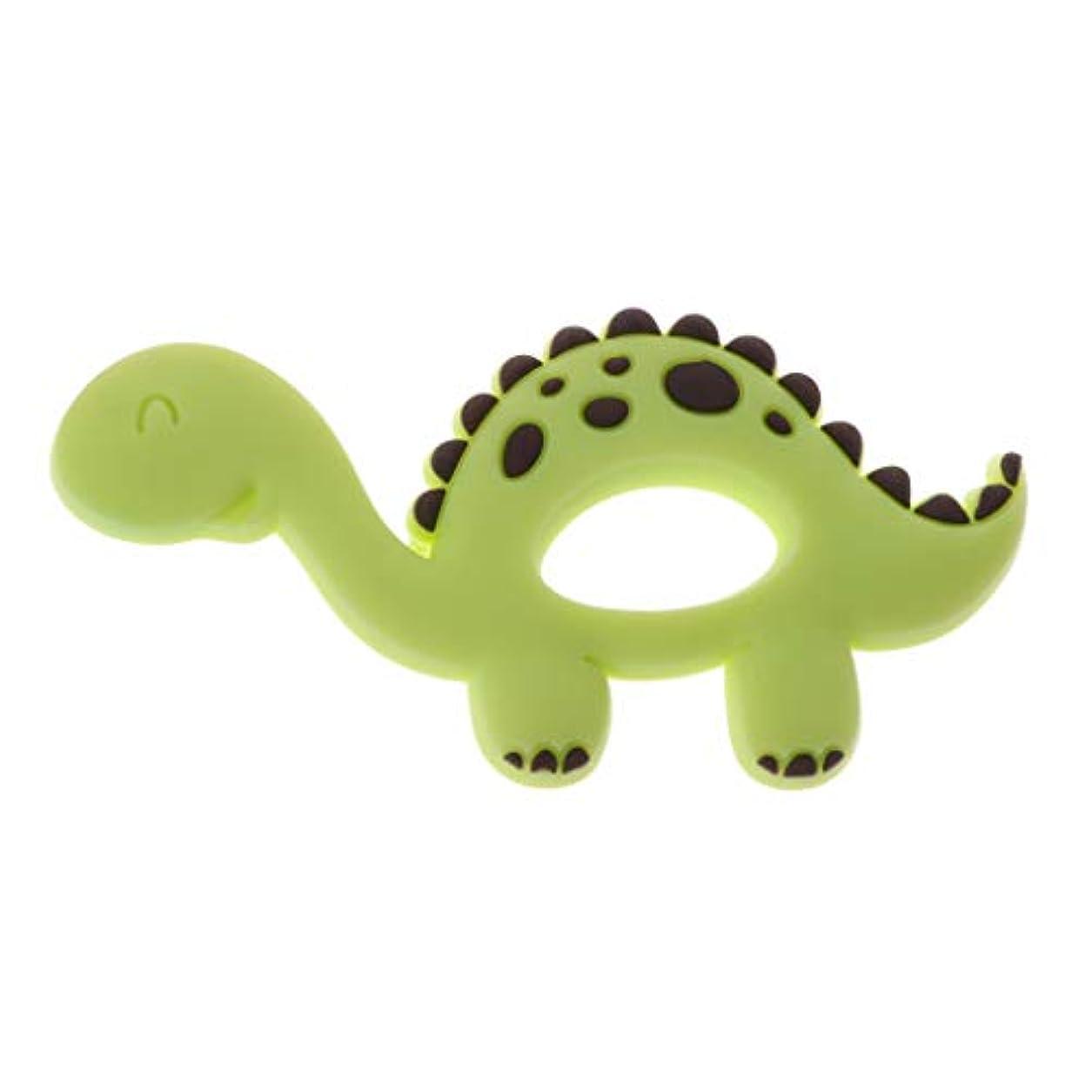 飛躍密レンズLanddumシリコーンおしゃぶり恐竜シリコーンおしゃぶり赤ちゃん看護玩具かむ玩具歯を作るガラガラおもちゃ - 青