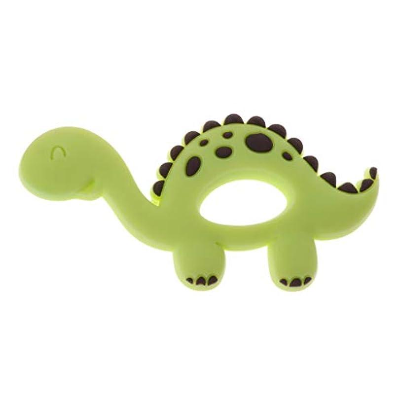 クラッシュみがきます調和Landdumシリコーンおしゃぶり恐竜シリコーンおしゃぶり赤ちゃん看護玩具かむ玩具歯を作るガラガラおもちゃ - 青