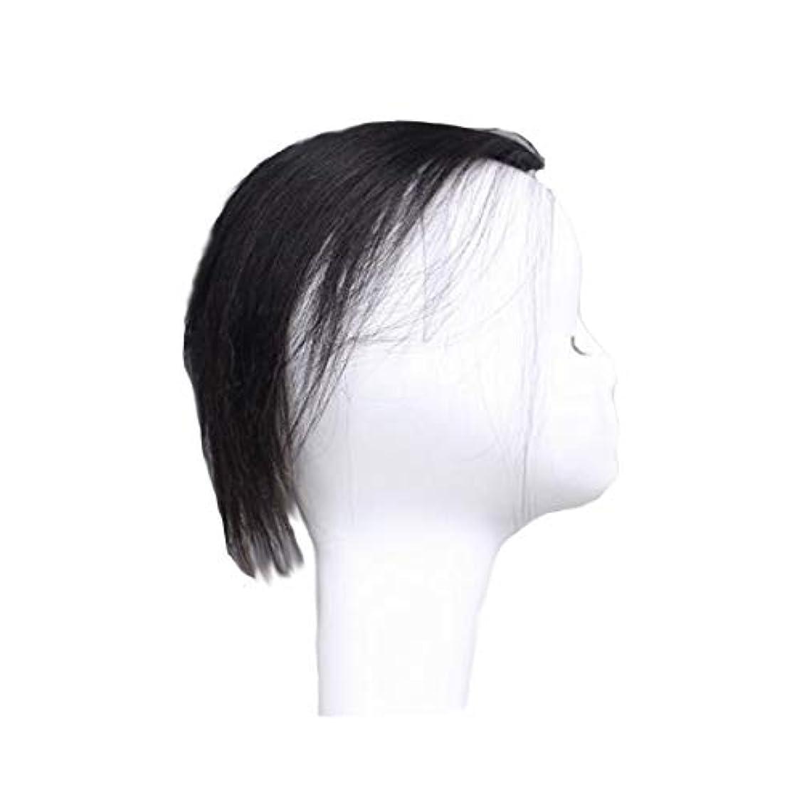 堀ストレス羨望CN ビッグ戻るウィッグ男性見えないシームレスなレトロなヘアピース実髪ロングヘアふわふわヘッドトップヘアー (Color : Black)