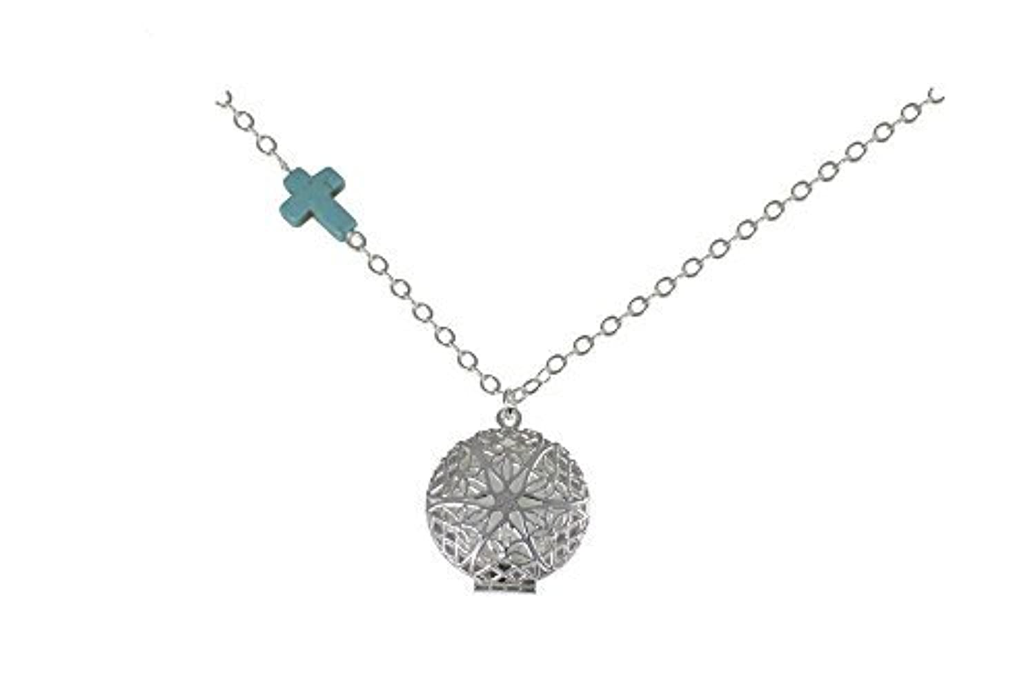 Turquoise-colored Cross Charm Silver-Tone Aromatherapy Necklace Essential Oil Diffuser Locket Pendant Jewelry...