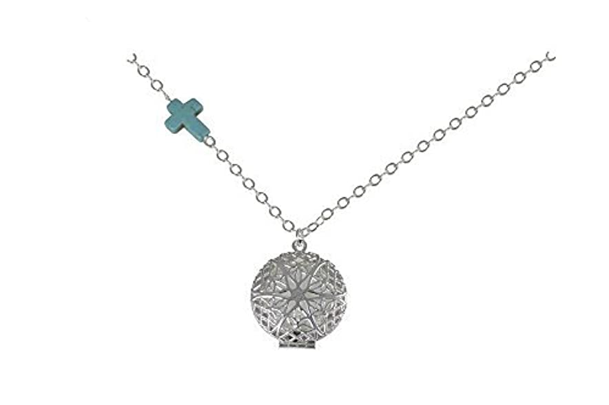 の中で実り多い耐えられないTurquoise-colored Cross Charm Silver-Tone Aromatherapy Necklace Essential Oil Diffuser Locket Pendant Jewelry...