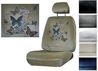 シートカバー接続バタフライwithフローラル印刷2ローバックバケット車トラックSUVシートカバー2ヘッドRestでカバー グレイ 6363-lb-gy