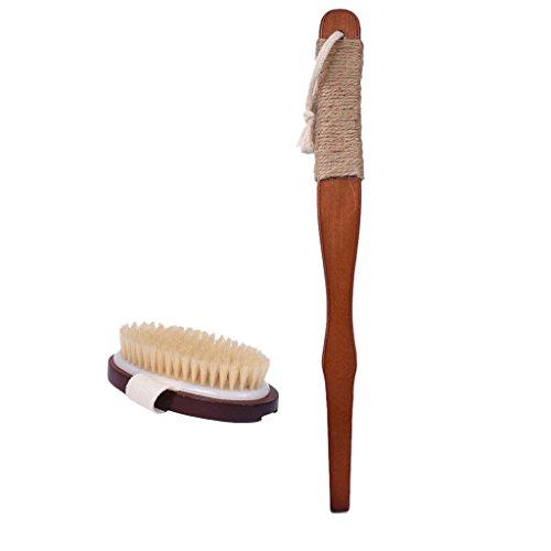 Lovoski ボディブラシ 猪毛 マッサージ ロングハンドル 取り外し可能 木製 毛穴 血液循環