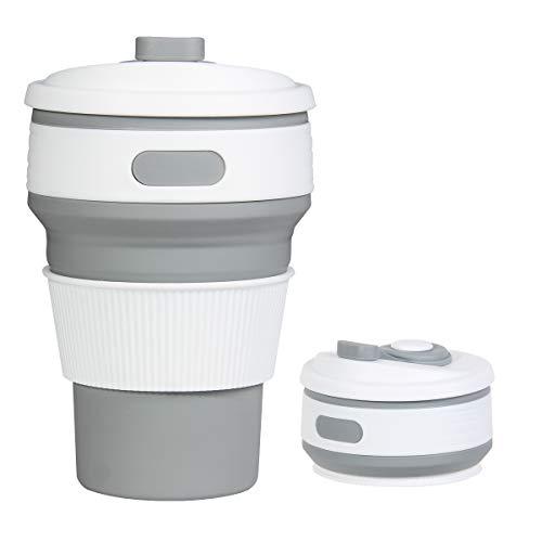 ROCONTRIP折りたたみカップ 携帯シリコンカップ 350ml 耐熱コーヒーカップ 蓋付き トラベルカップ アウトドア 旅行 出張 自宅用 食洗機対応