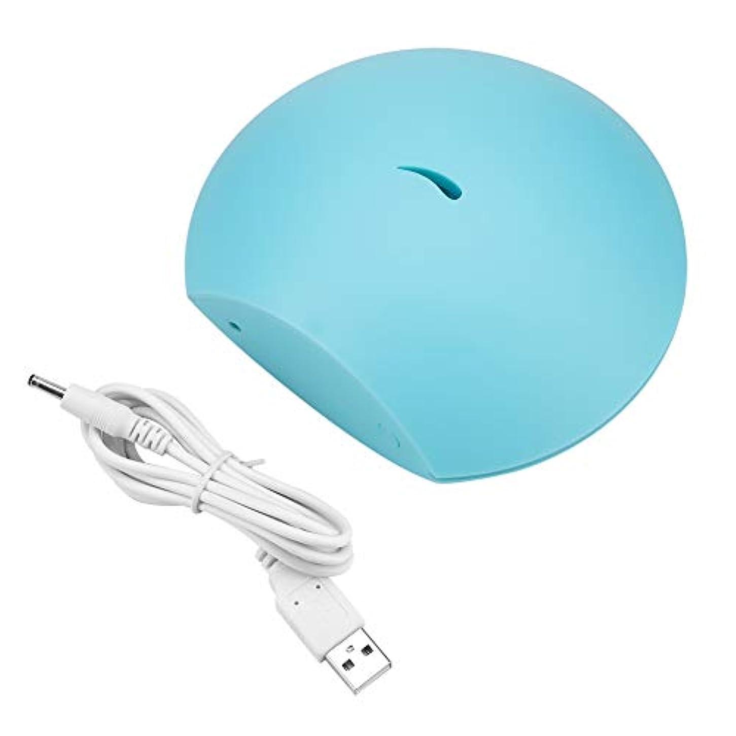 コイル沼地気づく超音波 アロマディフューザー usb 空気加湿器 80ml エッセンシャルオイル ディフューザー カラフル かわいい ナイトライト(ブルー)