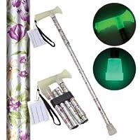 【まとめ 5セット】 後藤 折たたみ式ステッキ 杖ぼたる 蓄光タイプ 花柄 8703032