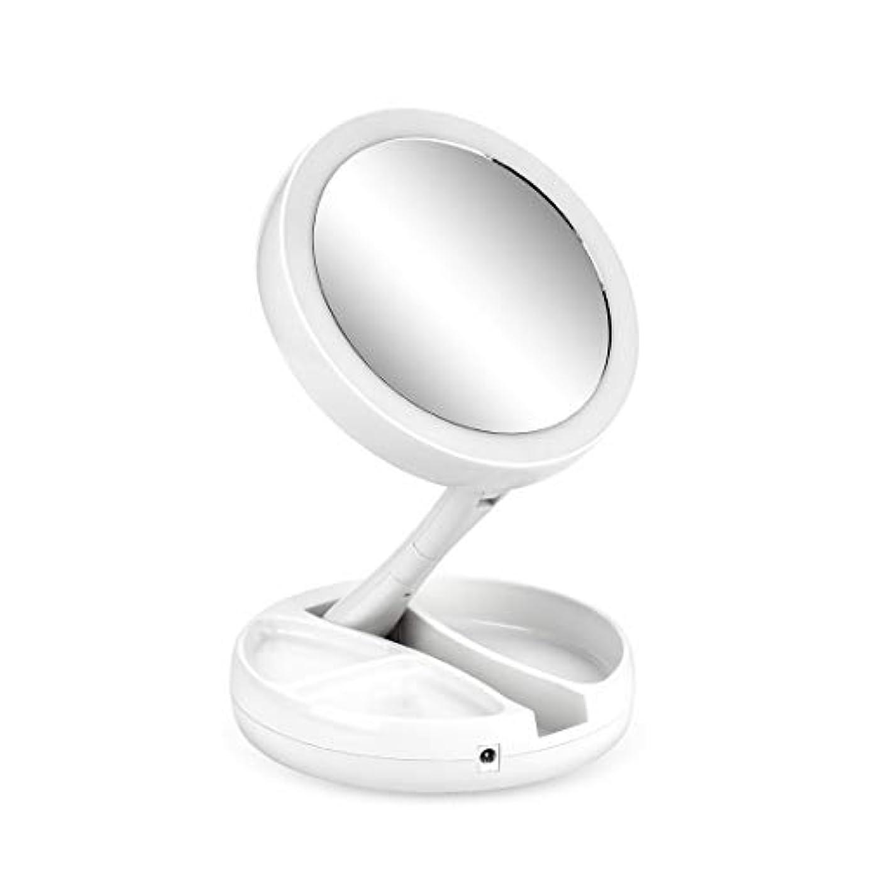 お肉招待受信機鏡 スタンドミラー 折りたたみ式 化粧鏡 LEDライト補光 等倍鏡+10倍拡大 回転可能 収納便利 小物入れ USB充電 いつでも化粧可能