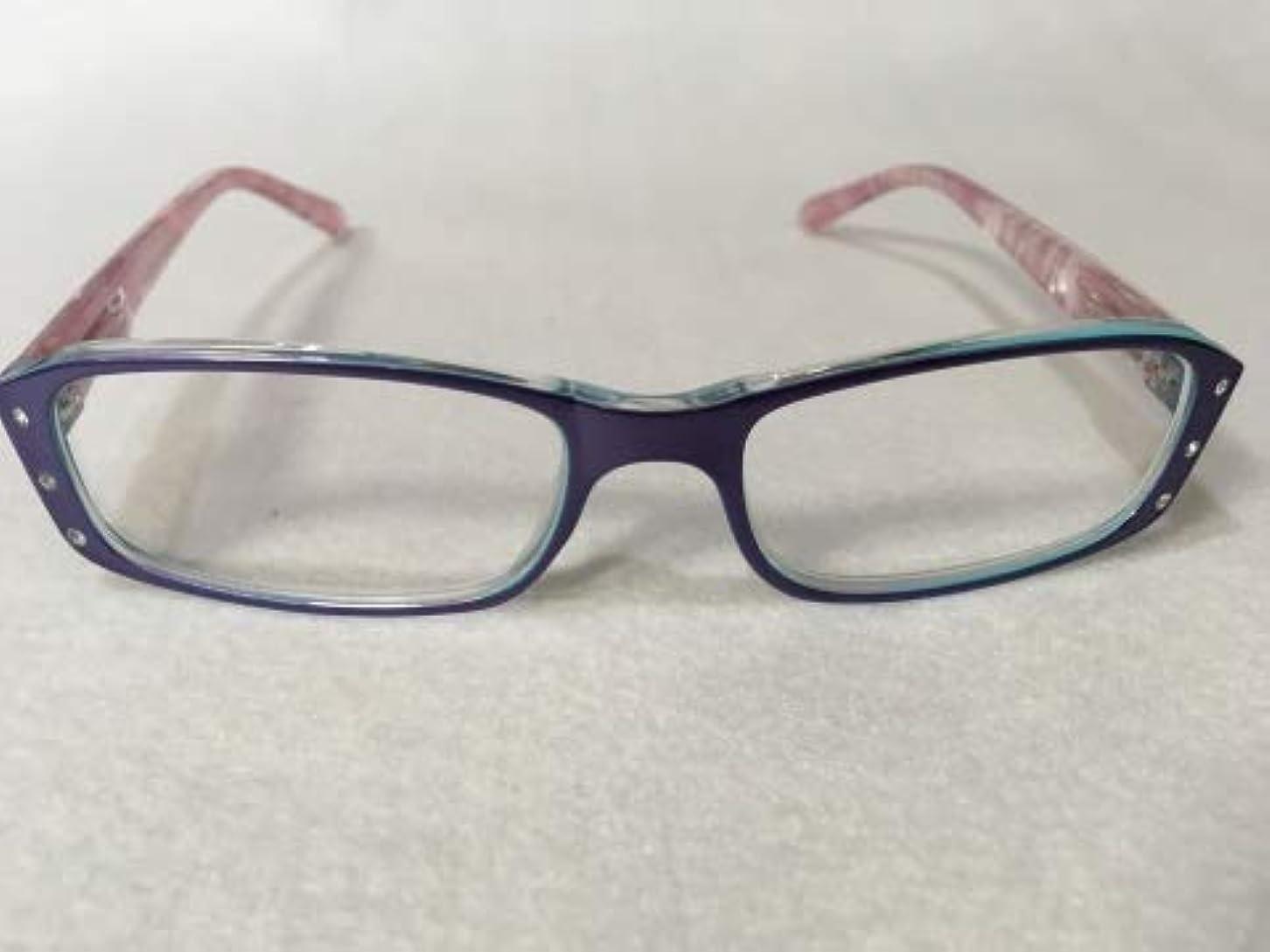 あごひげボクシングびんおしゃれ シニアグラス 老眼鏡 女性用 ポリカーボネイトパープル [115] ソフトケース付き 2.0度