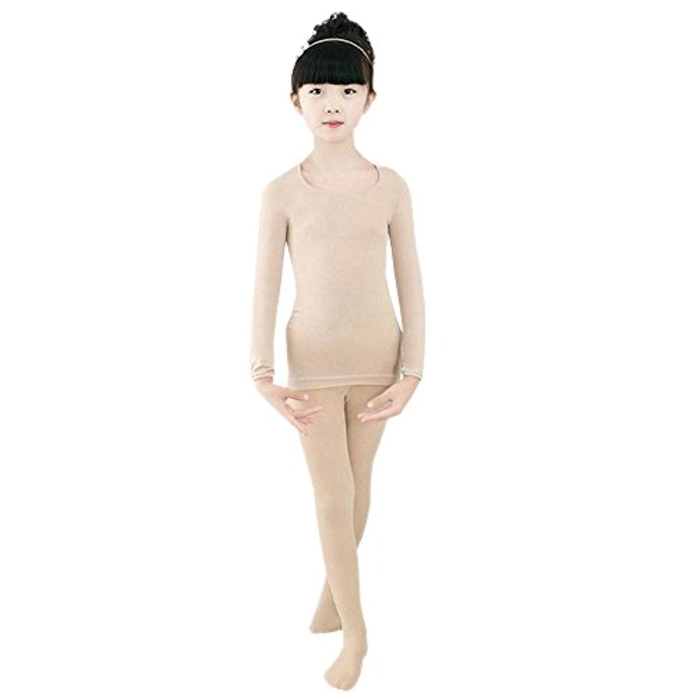 Fuyingda 女の子 子供用 防寒 長袖 軽量 柔らかい ストレッチ バレエタイツ ナイトウェア インナーシャツ & タイツ