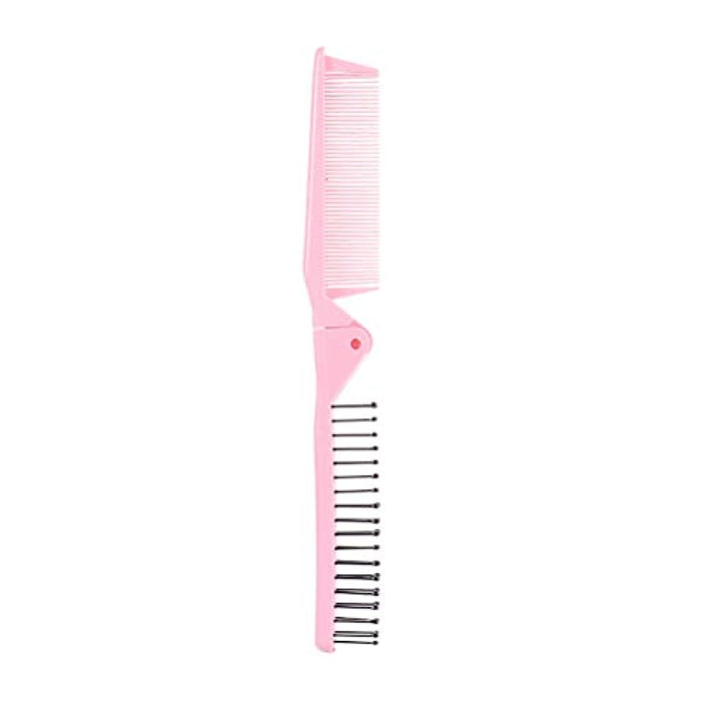 に向けて出発挨拶覚えているHealifty 旅行のための櫛の長いストレートの髪の折りたたみ櫛5本(ピンク)