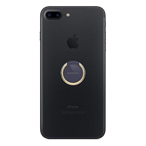 GoosPery フィンガーリング ブラック/ゴールド iPhone / iPad / iPod / Galaxy / Xperia スマートフォン タブレット 指輪 落下防止・スタンド機能