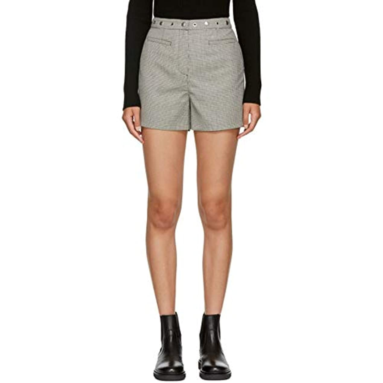 隔離光鼻(アレクサチャン) Alexachung レディース ボトムス?パンツ ショートパンツ Black & White Micro Houndstooth Shorts [並行輸入品]