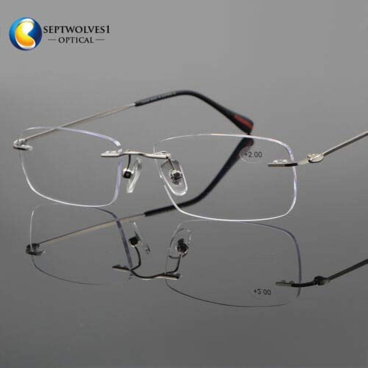 FidgetGear 新しいβチタン縁なし老眼鏡UV400コーティングレンズリーダー+0.00?+ 5.00 銀