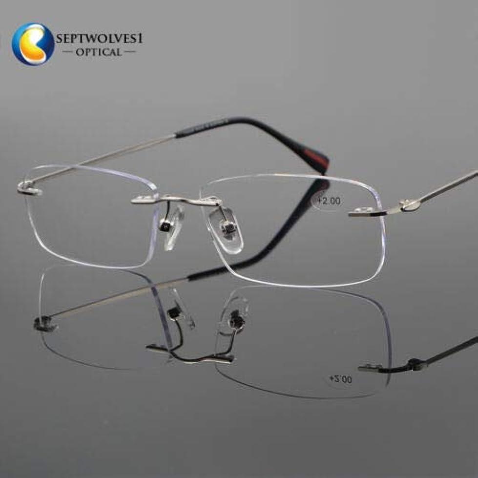 創始者退屈扱うFidgetGear 新しいβチタン縁なし老眼鏡UV400コーティングレンズリーダー+0.00?+ 5.00 銀