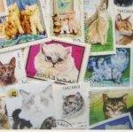 【スクラップ ネイルシール】世界切手《ネコ・猫》(1)1枚組