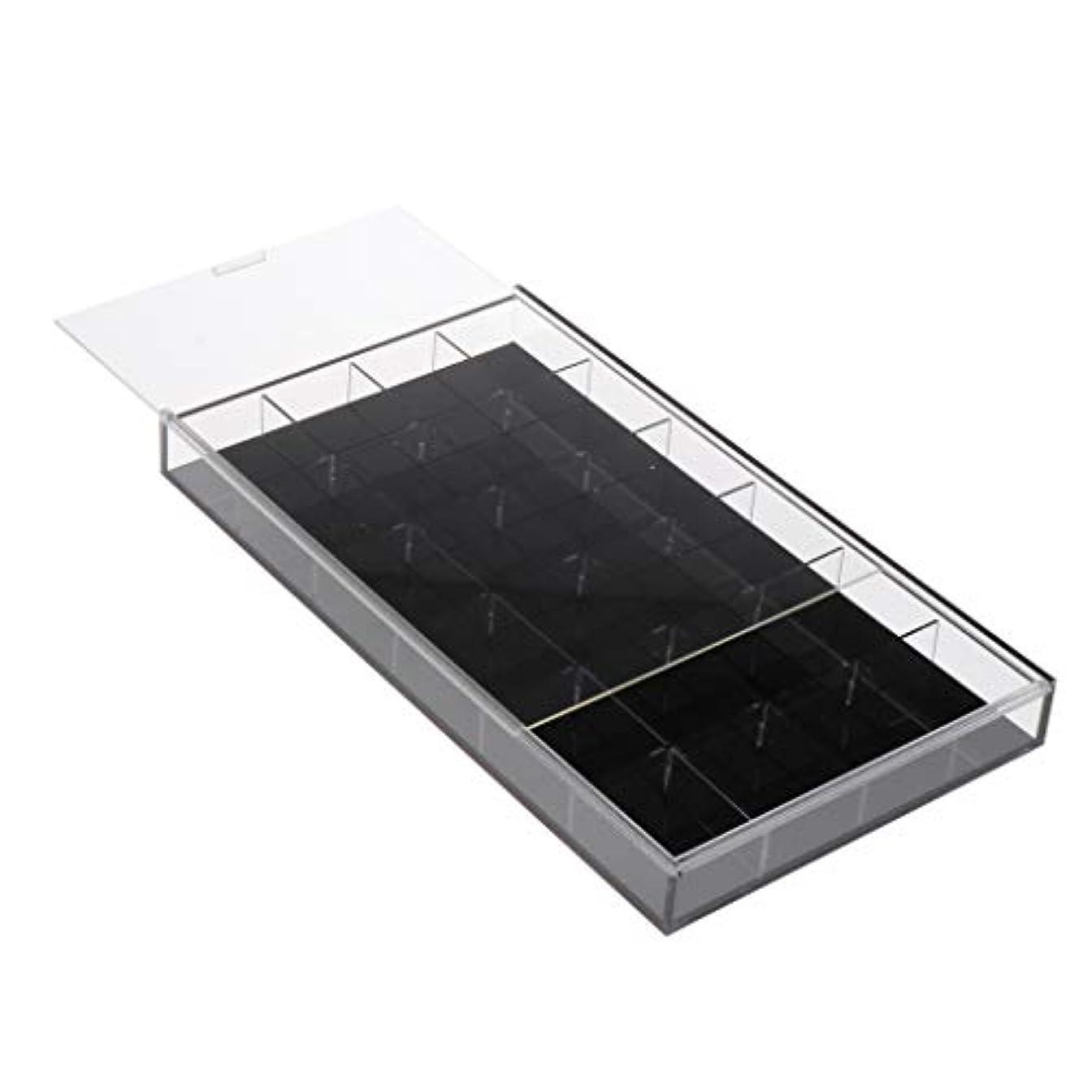 見込み後継単独でCUTICATE ジュエリー 収納ケース 24グリッド ネイルアート ラインストーン ビーズ 収納ボックス 全2カラー - 黒