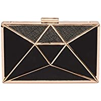 Black Geometric Large Clutch Bag With Gold Hardware
