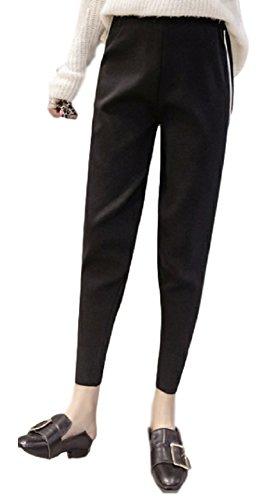 【ACE FACTORY】 レディース ウールパンツ ライン入りパンツ ボトムス エコバック付き(ブラック XLサイズ)