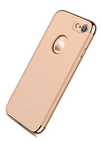 TSUNEO iphone7ケース 耐衝撃 アイフォン7 カバー 3パーツ式 バンパー 高級感 薄型 (iPhone7, ゴールド)