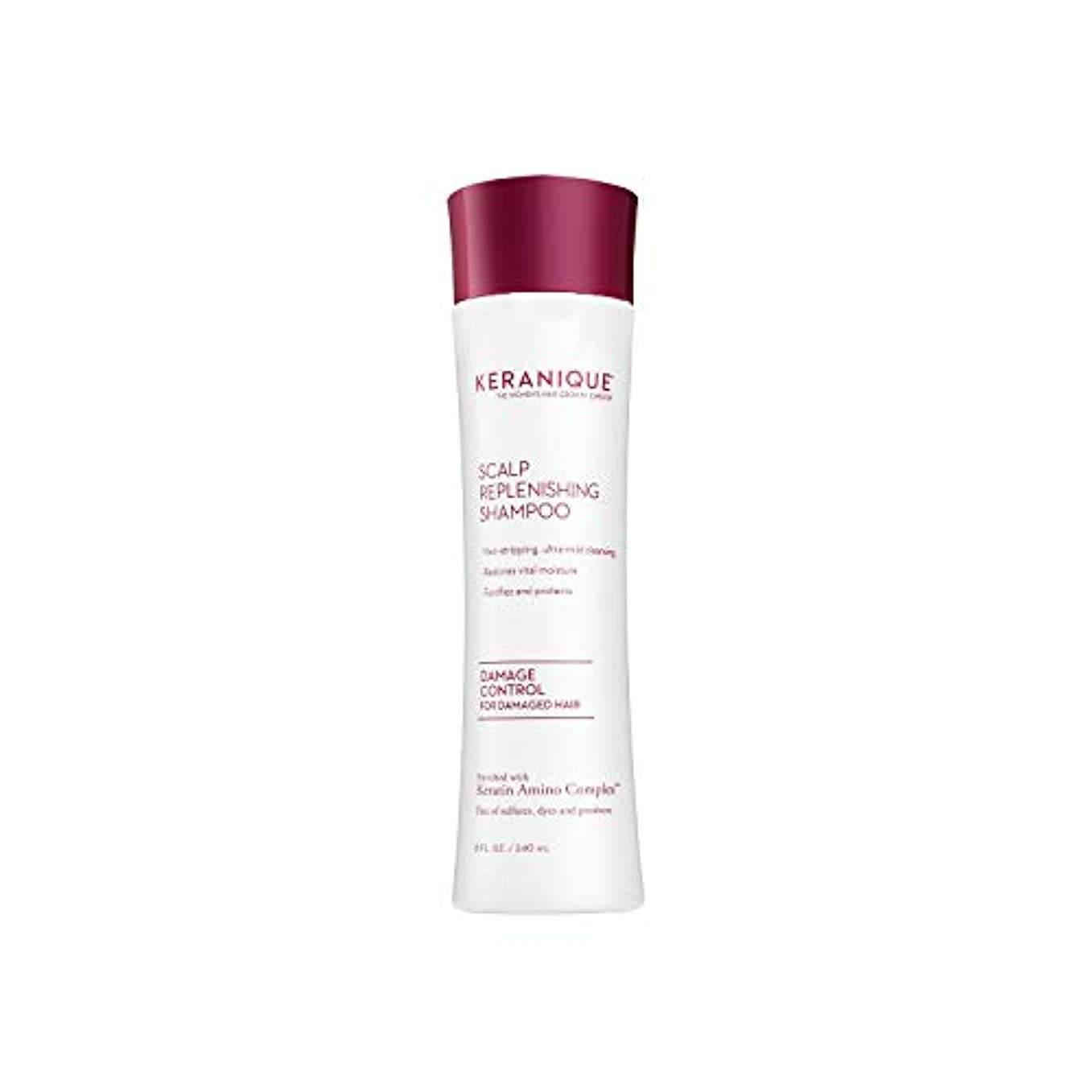 Keraniqueダメージコントロール頭皮補充シャンプー、8液量オンス - ケラチンアミノコンプレックス、硫酸塩、染料、パラベンフリー - ノンストリッピング、強化および保護 - 将来の損傷した髪と修理を防止