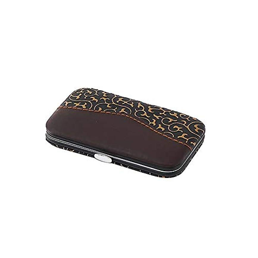 暖炉ダルセットデザイナー7 in 1ネイルケアセット携帯便利男女兼用爪切りセット金龍PUレザーケース付き