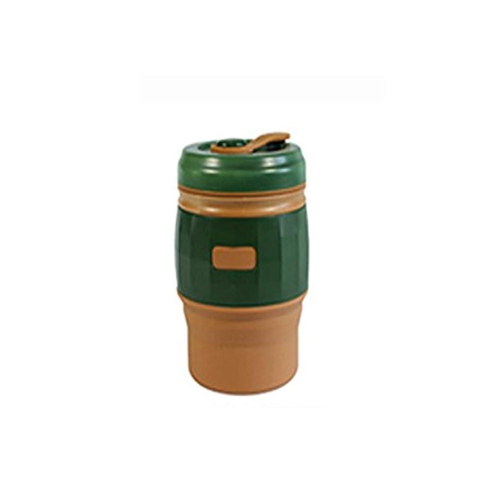 満足タンパク質忠実にWanna Home トラベルカップ折りたたみカップ屋外カップポータブルシリコンカップコーヒーカップ (色 : 緑, サイズ : L)