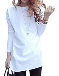 [ユーミート] 白Tシャツ カットソー 長袖 ラウンドカット カジュアル レディース (S~XL)
