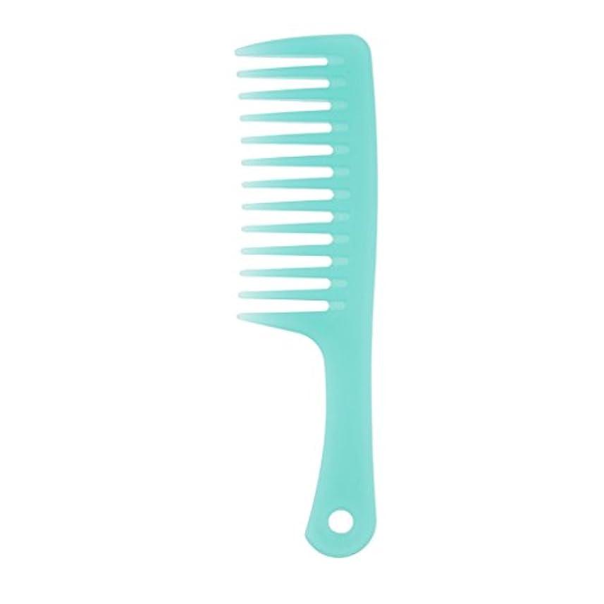 スキャンダラス柔らかいフルートToygogo 耐久性のある櫛ブラシ傘ハンドルカーリー&もつれを取り除くための広い歯櫛ブラシ帯電防止、青 - B