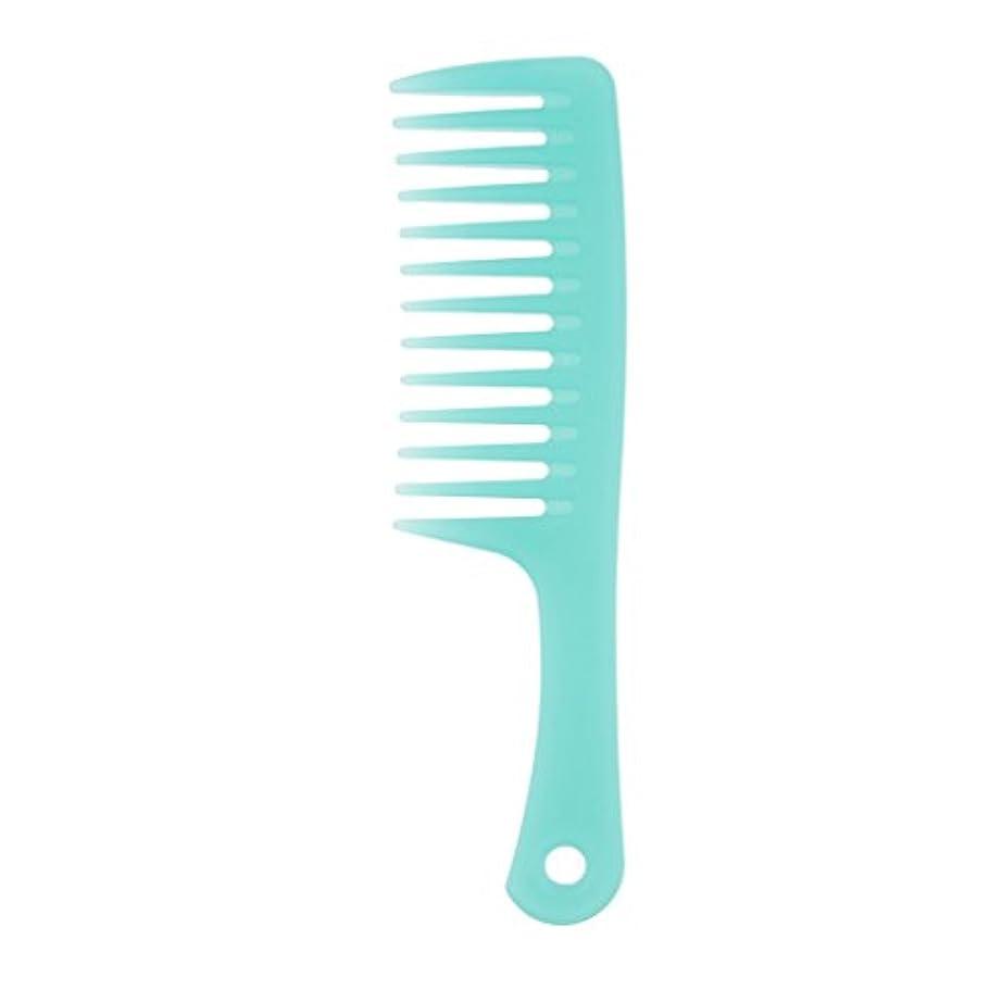 シプリー名義で情緒的Toygogo 耐久性のある櫛ブラシ傘ハンドルカーリー&もつれを取り除くための広い歯櫛ブラシ帯電防止、青 - B