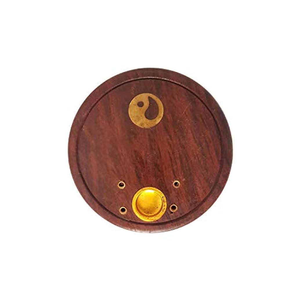 疼痛レバー洪水FashionFrame Handmade Wooden Agarbatti Holder/Incense Stick Holder/Dhoop Batti Stand with Brass Work