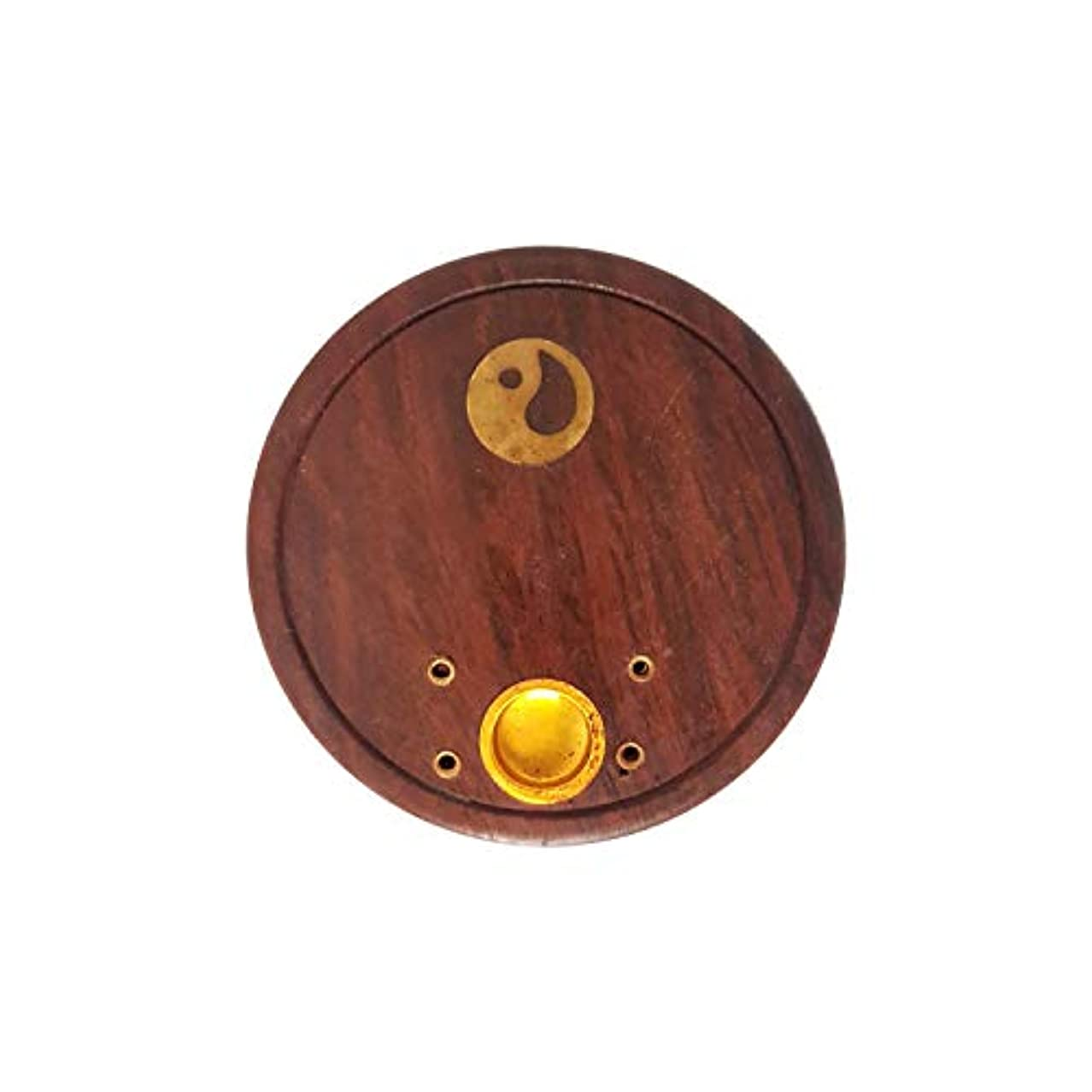 挨拶恨み宣伝FashionFrame Handmade Wooden Agarbatti Holder/Incense Stick Holder/Dhoop Batti Stand with Brass Work