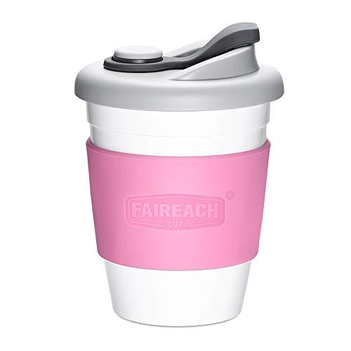 コーヒーカップ Faireach 蓋付きのコップ マグカップ 熱に強い 割れない BPAフリー 夫婦コーヒーコップセット FDA承認 滑り止めカバー付き 繰り返し使用可能 仕事用 通気口付き 食洗機/電子レンジ対応 ピンク 340ml/12オンス