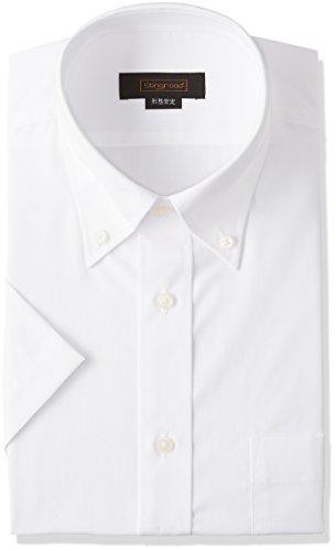 (スティングロード) STINGROAD 形態安定加工ノーアイロン綿高率白半袖ボタンダウンドレスシャツ MA200-1 ホワイト 49