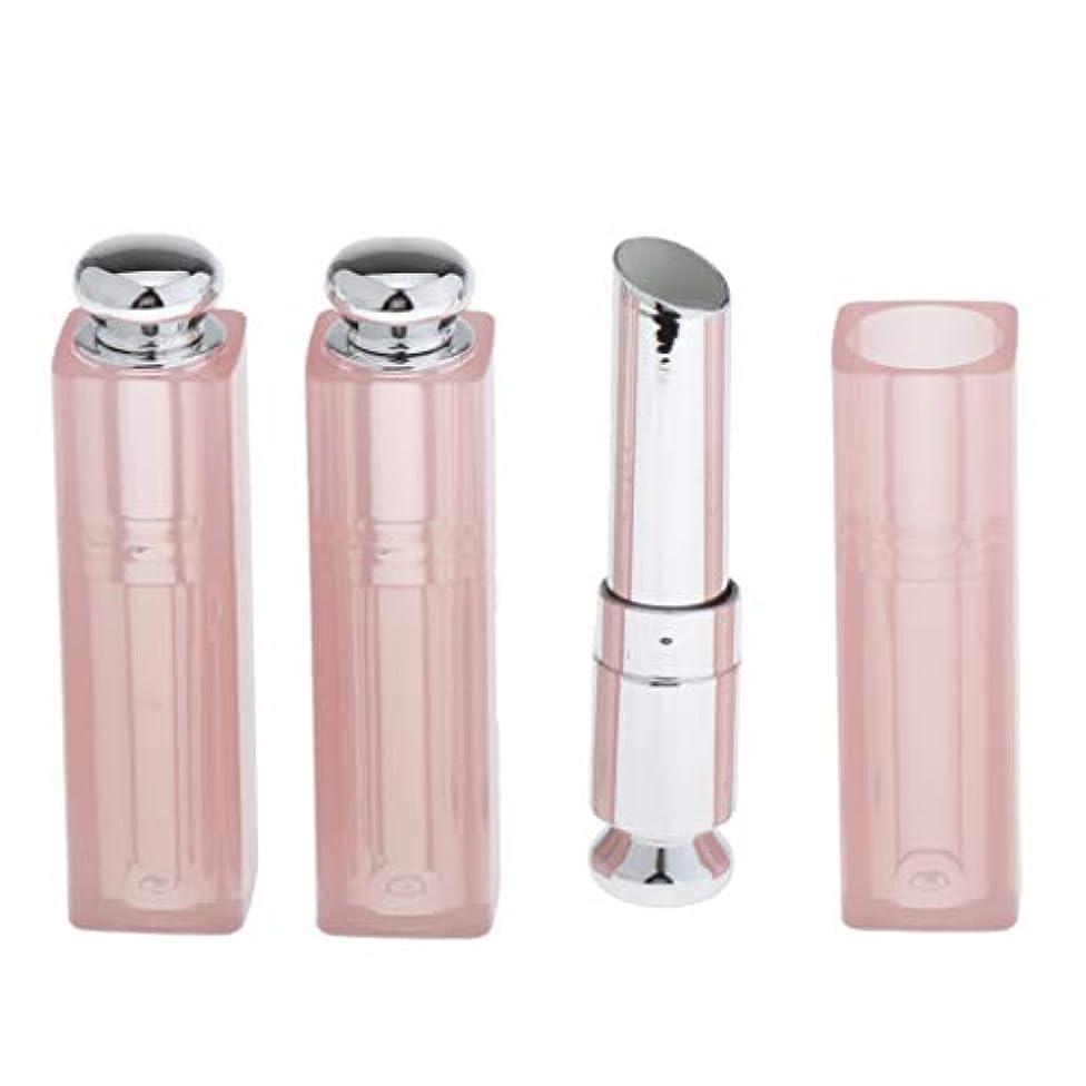 口紅容器 リップクリーム チューブ リップバームチューブ 11.1mm 手作り コスメ 用品 3個 全3色 - ピンク