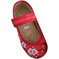 Fulision Girl's Embroidered Shoes Chinese Style Shoes Plat Bottom Dance Shoes