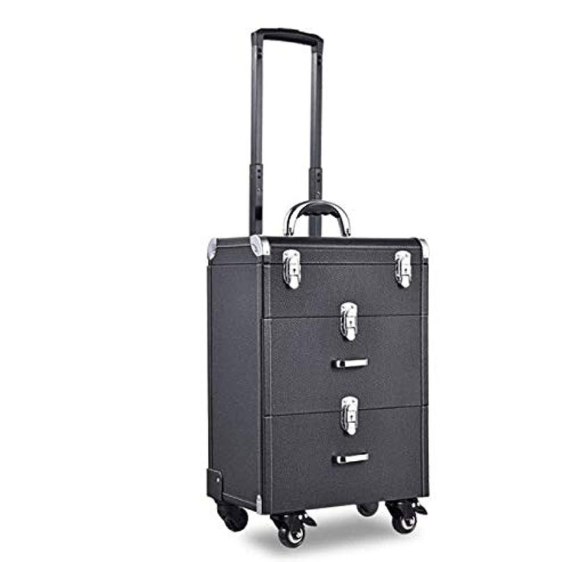 モスクグローブヒント化粧箱、大容量ライチタイロッド化粧品ケース、美容化粧ネイルジュエリー収納ボックス (Color : ブラック)