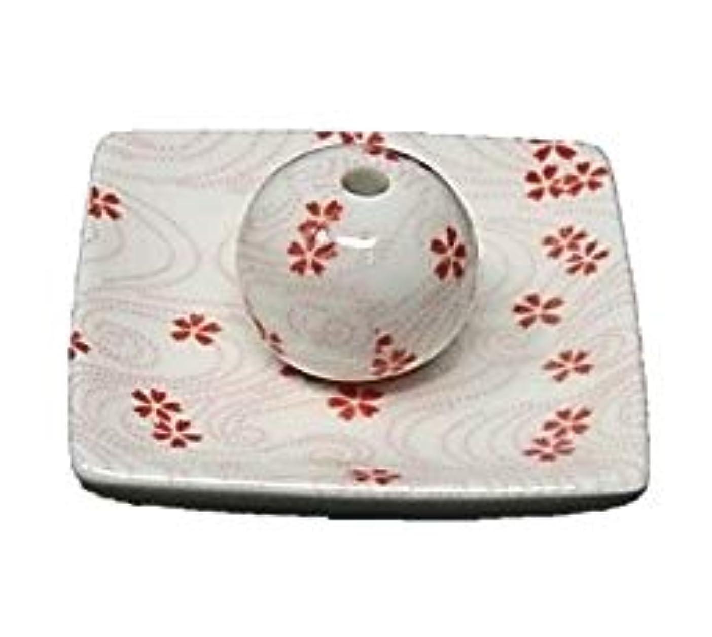 パス花輪ハント桜渦 小角皿 お香立て 陶器 お香たて 製造直売 桜 さくら ACSWEBSHOPオリジナル