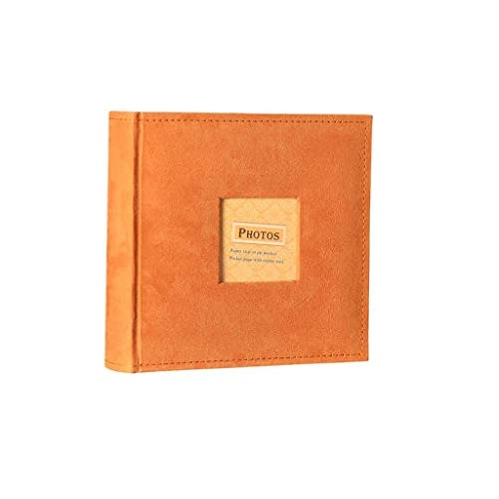 シュリンクつぶす定説Nwn フォトアルバム、スエードインサートスタイルのフォトアルバム、クリエイティブギフト、トラベルメモリーブックマルチカラーオプション23x23x5cm (Color : Orange)